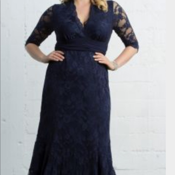 Navy lace plus size dress